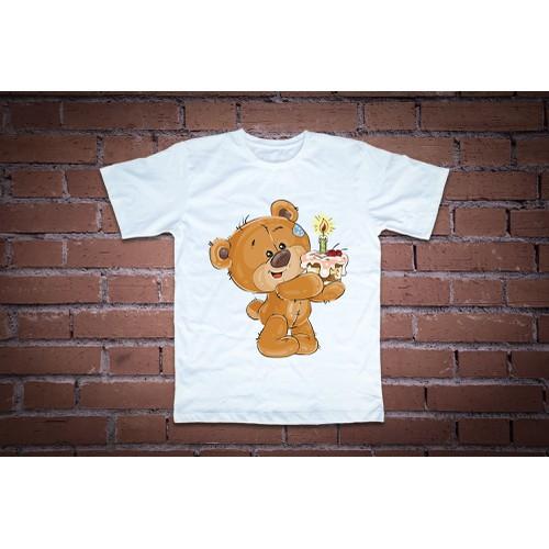 Áo thun in hình  teddy cầm bánh