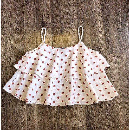Áo hai dây bé gái chấm bi kết hợp đính chuỗi siêu yêu 8kg đến 42kg - Size nhí - Chấm bi hồng