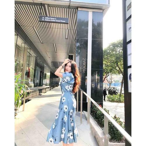 Đầm hoa xanh bèo CAO CẤP LL29034 mới nè