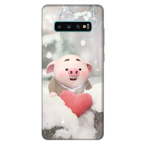 Ốp lưng nhựa cứng nhám dành cho Samsung Galaxy S10 Plus in hình Heo Con Mùa Đông