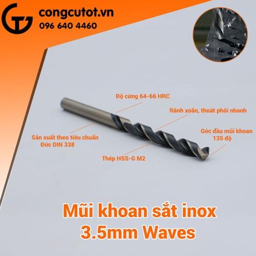 Mũi khoan inox 3.5mm Waves