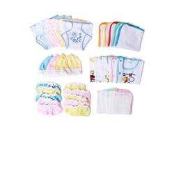 Đồ sơ sinh - Combo 50 món tron gói cho bé( 5 áo tay ngắn, 10 tã, 5 nón, 10 bao tay, 10 bao chân, 5 lót, 5 khăn