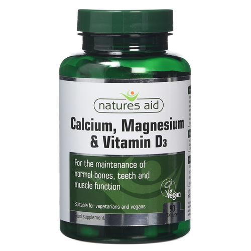 Viên uống tổng hợp Natures Aid Calcium, Magnesium & Vitamin D3 90 viên