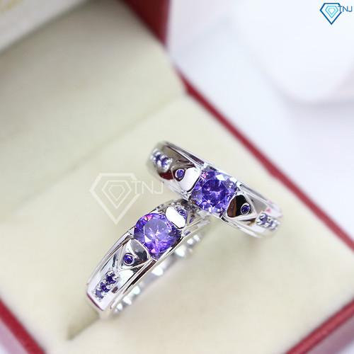 Nhẫn đôi bạc nhẫn cặp bạc đẹp đính đá theo mệnh ND0280 tím