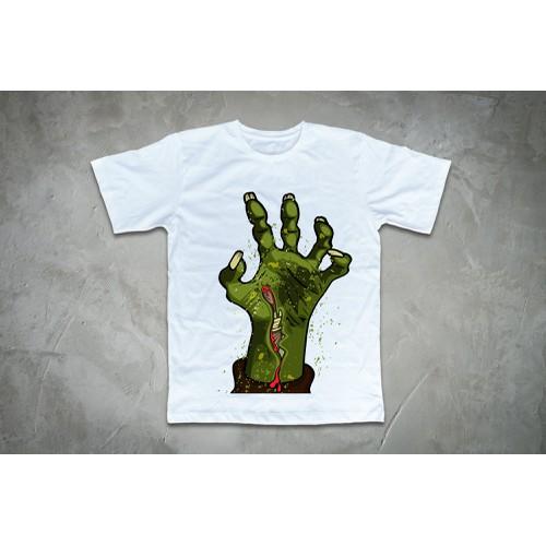 Áo thun in hình tay Zombie lên mặt đất