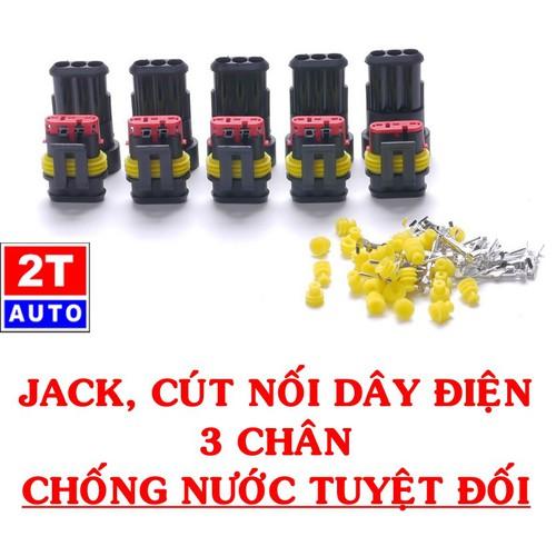Đầu cút jack giắc nối dây điện 3 chân chống nước dùng cho xe máy xe hơi ô tô