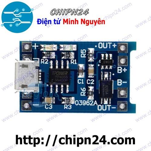 Mạch Sạc Pin TP4056 1A Cổng Micro USB có Mạch bảo vệ - 6306180 , 16420938 , 15_16420938 , 25000 , Mach-Sac-Pin-TP4056-1A-Cong-Micro-USB-co-Mach-bao-ve-15_16420938 , sendo.vn , Mạch Sạc Pin TP4056 1A Cổng Micro USB có Mạch bảo vệ