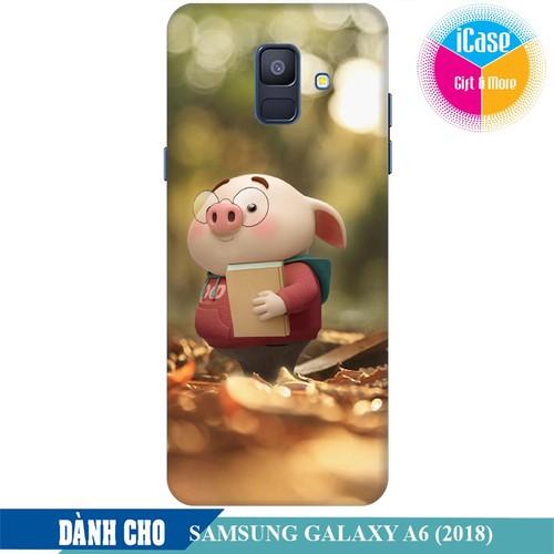 Ốp lưng nhựa dẻo dành cho Samsung Galaxy A6 2018 in hình Heo Con Mọt Sách