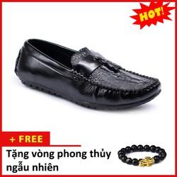 Giày Mọi Nam Đẹp Đế Khâu Có Chuông Vân Cá Sấu Màu Đen Sang Trọng - M117|030319