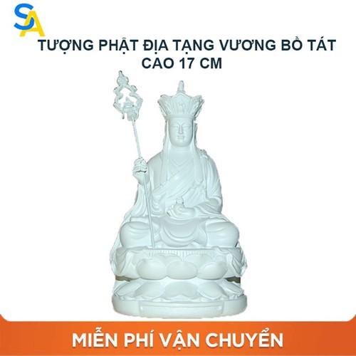 Tượng ngài Địa Tạng Vương Bồ Tát sơn trắng cao 17cm