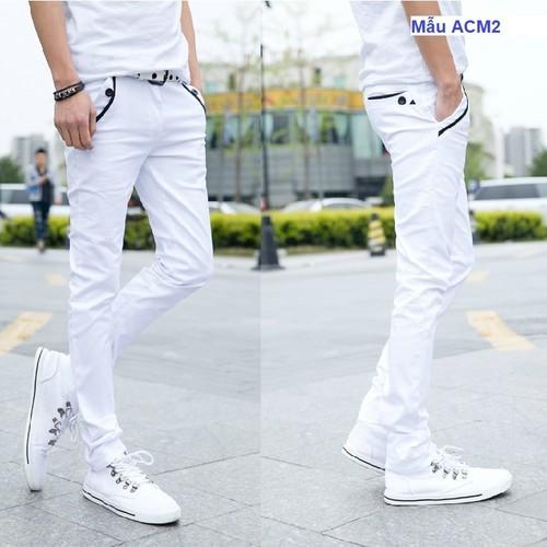 Quần vải thô nam màu trắng