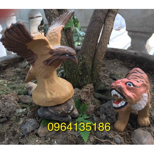 Tiểu cảnh tượng ngoạ hổ tàng long gốm sứ Bát Tràng