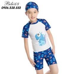 Đồ bơi bé trai 3-14 tuổi 11-35 kg áo cộc, quần cộc  hình khủng long ngộ nghĩnh co giãn tốt nhiều màu Bibi68