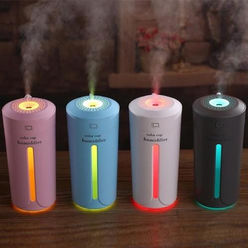 Máy Phun Sương,, khuếch tán tinh dầu Hình Cốc có đèn 3 màu dùng cho phòng điều hòa và trên ô tô