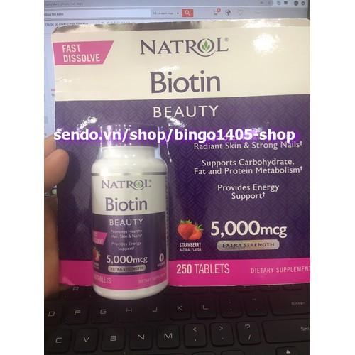 Viên uống Natrol Biotin Beauty 10000mcg hỗ trợ mọc tóc 250v