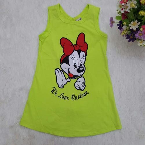 ZVL-59-16- Váy cotton sát nách, bé gái, thêu chuột Mickey, made in Vietnam