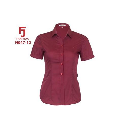 áo sơ mi thái hòa đỏ đô tay ngắn 047-12