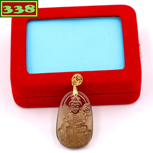 Mặt dây chuyền Phật Bồ tát Phổ hiền Obsidian 3 cm MPOBK2 kèm hộp nhung - Hộ mệnh tuổi Thìn, Tỵ