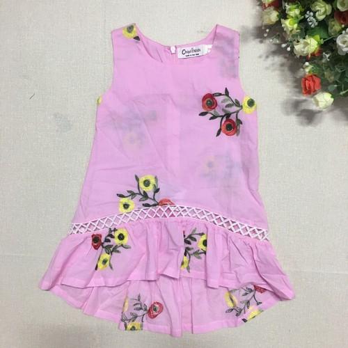 ZVL-59-15- Váy thô mềm sát nách bé gái, thêu hoa, made in Vietnam