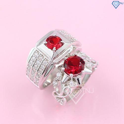 Nhẫn đôi bạc nhẫn cặp bạc đính đá đỏ đẹp sang trọng ND0192 - Trang Sức TNJ