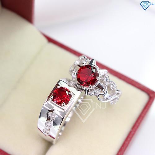 Nhẫn đôi bạc nhẫn cặp bạc đính đá đỏ đẹp khắc tên theo yêu cầu ND0265 - Trang Sức TNJ