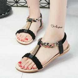 Giày sandal đế bệt nữ dây kết hàng xịn