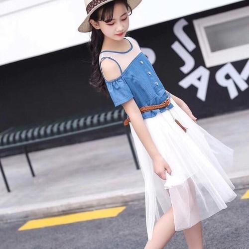 Đầm bé gái jean phối ren