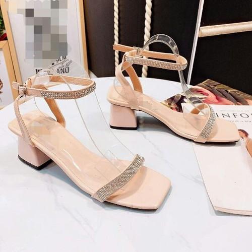 Giày sandal cao gót quai đính đá