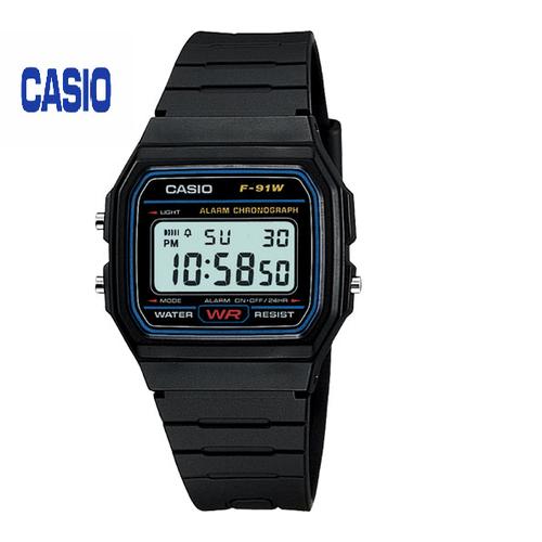Đồng hồ nam CASIO F-91W-1D kính khoáng dây cao su đen