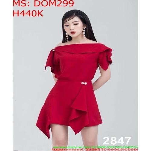 Đầm body màu đỏ bẹt vai đính hạt sành điệu DOM299