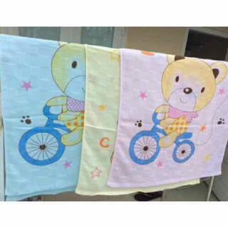 Khăn tắm xô đan 2 lớp màu in hình cho bé 70x110cm