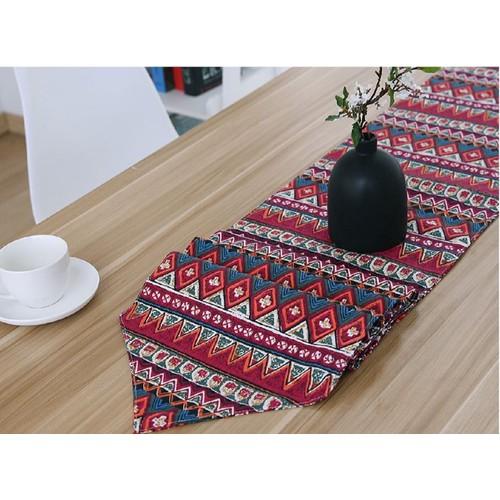 Khăn trải bàn dài tam giác thổ cẩm đỏ
