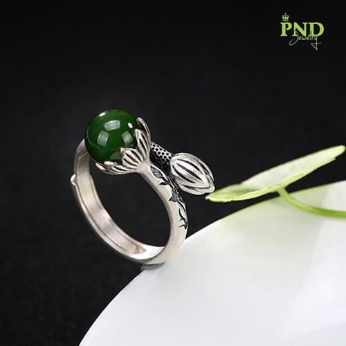 Nhẫn bạc Hoa Sen đính Ngọc Bích tròn - 7293504 , 17108452 , 15_17108452 , 460000 , Nhan-bac-Hoa-Sen-dinh-Ngoc-Bich-tron-15_17108452 , sendo.vn , Nhẫn bạc Hoa Sen đính Ngọc Bích tròn