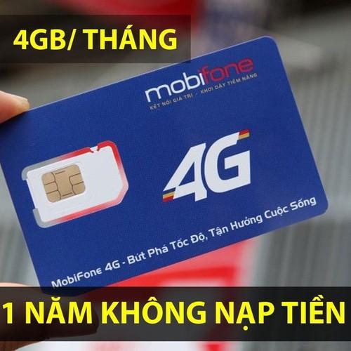 SIM 4G 1 NĂM MOBI mỗi tháng tặng ngay 4GB - sim chuẩn nhà mạng - giá rẻ
