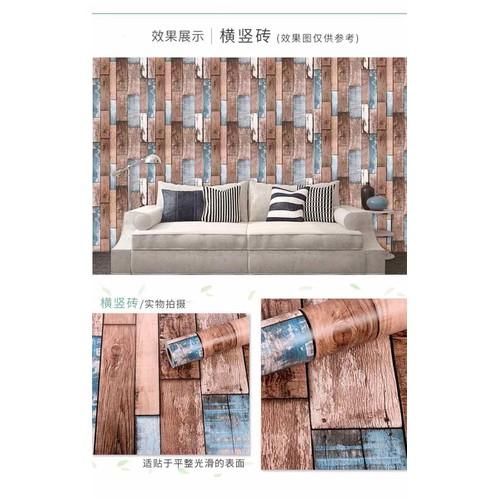 10 m giấy dán tường gỗ sơn ghép 3D độc đáo keo sẵn khổ 45 cm