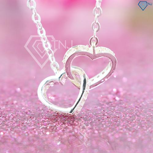 Dây chuyền bạc nữ trái tim đôi đính đá dễ thương DCN0264 - Trang Sức TNJ - 7271463 , 17098160 , 15_17098160 , 450000 , Day-chuyen-bac-nu-trai-tim-doi-dinh-da-de-thuong-DCN0264-Trang-Suc-TNJ-15_17098160 , sendo.vn , Dây chuyền bạc nữ trái tim đôi đính đá dễ thương DCN0264 - Trang Sức TNJ
