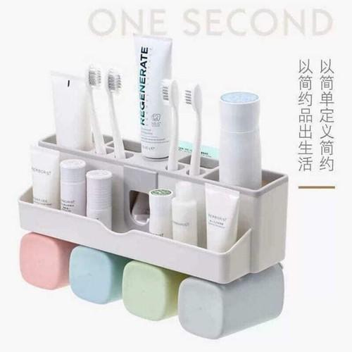 Bộ dụng cụ nhả kem đánh răng lúa mạch 3 cốc vuông - Bộ nhả kem đánh răng tự động