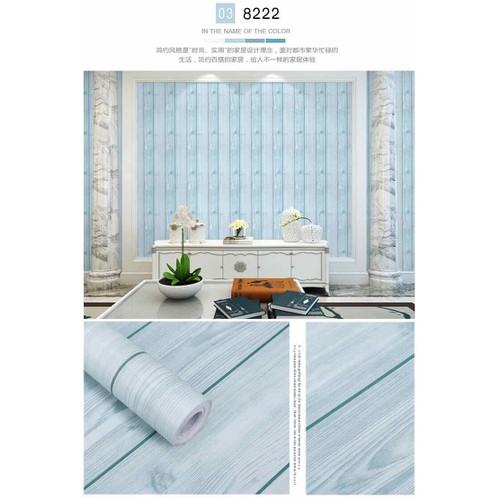 10 m giấy dán tường vân gỗ xanh nhạt keo sẵn khổ 45 cm