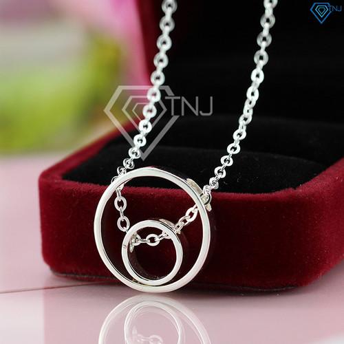 Dây chuyền bạc nữ thiết kế độc đáo vòng tròn lồng nhau khắc tên theo yêu cầu DCN0287 - Trang Sức TNJ