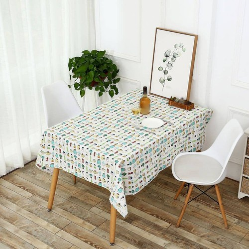 Khăn trải bàn canvas họa tiết chai lọ khổ 90cm x 90cm