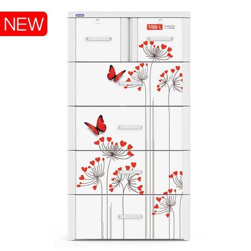 Tủ Nhựa Duy Tân Tabi- L 5 Tầng- 6 Ngăn Màu Trắng Bướm Đỏ