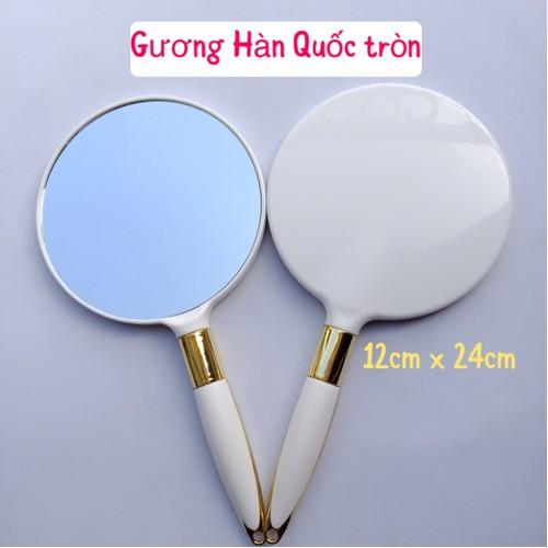 Gương soi cầm tay Hàn Quốc hình tròn GIÁ RẺ màu Trắng