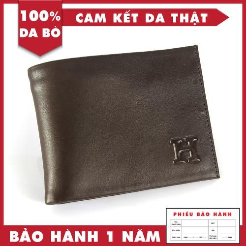 Bóp Da - Ví Da Bò Giá Rẻ Cho Nam Chữ H Màu Nâu