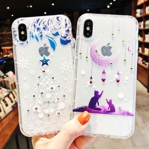 Ốp silicon Iphone 6, 6S, 7, 7P, 8P, X Ombre Mèo ngắm sao đính đá