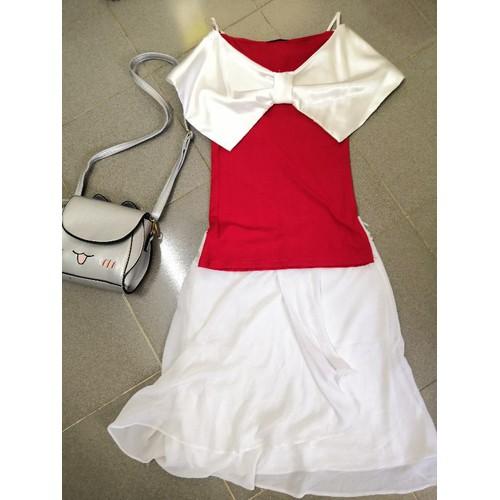 Áo nơ bướm kèm váy trắng - 6343596 , 16450719 , 15_16450719 , 150000 , Ao-no-buom-kem-vay-trang-15_16450719 , sendo.vn , Áo nơ bướm kèm váy trắng