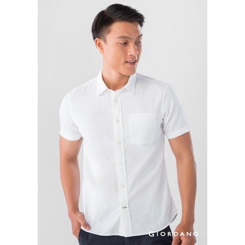 Áo Sơ Mi Nam Tay Ngắn Giordano Linen Shirts Màu Trắng
