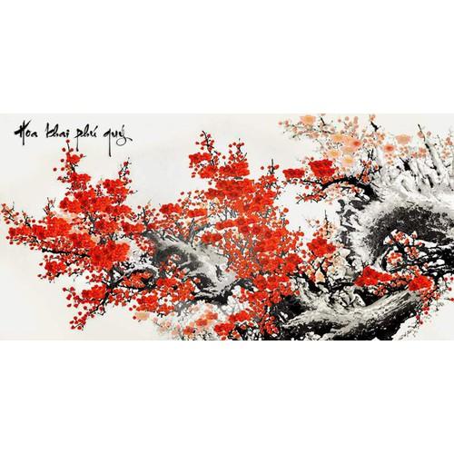 Tranh in canvas hoa khai phú quý 3D VTC UD0025A1 kt 160 x 80 cm