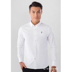Áo Sơ Mi Nam Tay Dài Giordano Classic Shirts Màu Trắng Có Logo