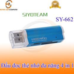 Đầu đọc thẻ nhớ đa năng SIYOTEAM USB 4 in 1 TF M2 MicroSD MMC SDHC (màu Ngẫu nhiên)