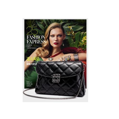 Túi đeo chéo nữ thời trang dây đeo chuỗi đen